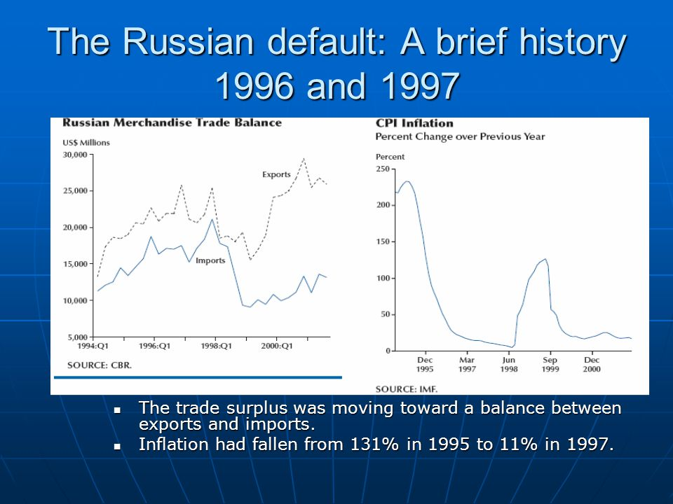 The Russian default: A brief history 1996 and 1997 The trade surplus was moving toward a balance between exports and imports.