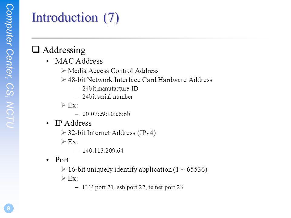 TCP/IP Protocols  Computer Center, CS, NCTU 2 TCP/IP and the