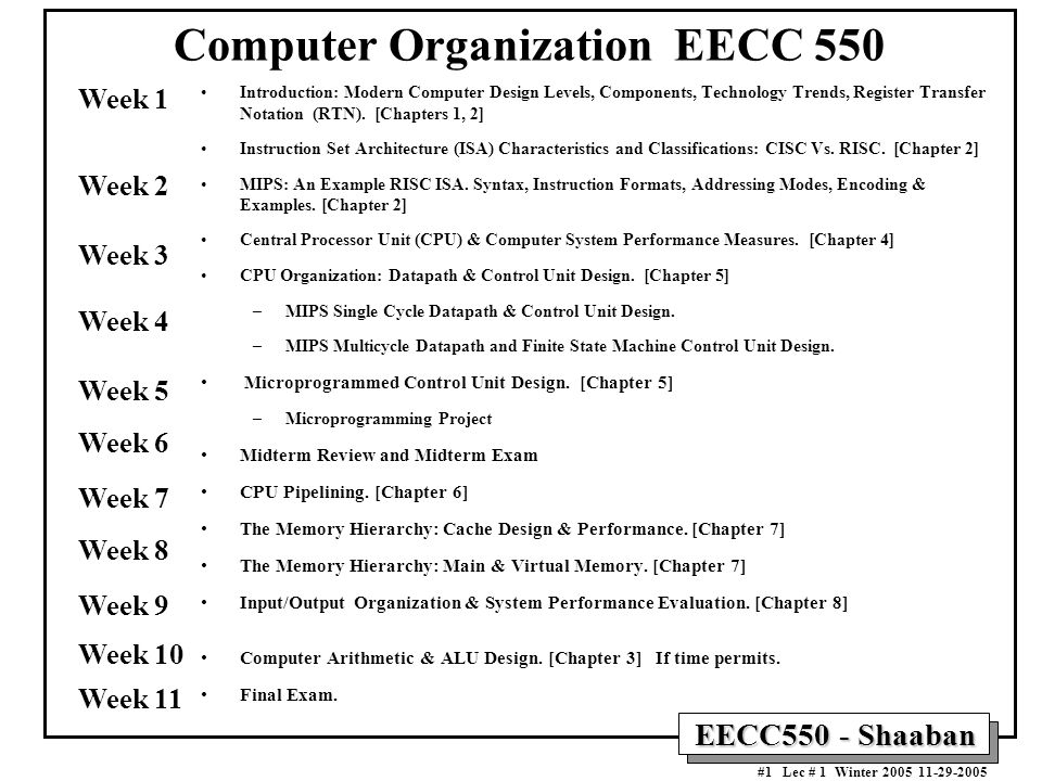 EECC550 - Shaaban #1 Lec # 1 Winter Computer Organization EECC 550 Introduction: Modern Computer Design Levels, Components, Technology Trends, Register Transfer Notation (RTN).
