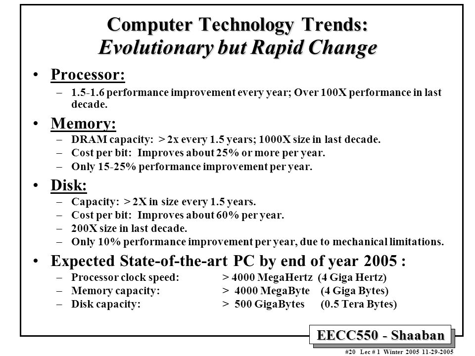 EECC550 - Shaaban #20 Lec # 1 Winter Computer Technology Trends: Evolutionary but Rapid Change Processor: – performance improvement every year; Over 100X performance in last decade.