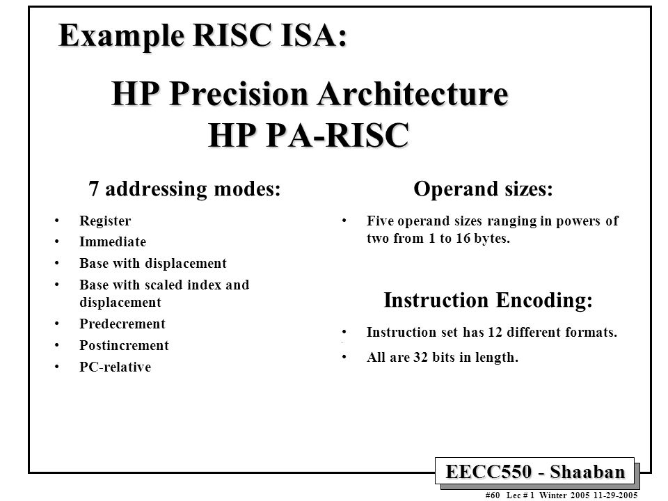 EECC550 - Shaaban #60 Lec # 1 Winter Example RISC ISA: HP Precision Architecture HP PA-RISC 7 addressing modes: Register Immediate Base with displacement Base with scaled index and displacement Predecrement Postincrement PC-relative Operand sizes: Five operand sizes ranging in powers of two from 1 to 16 bytes.