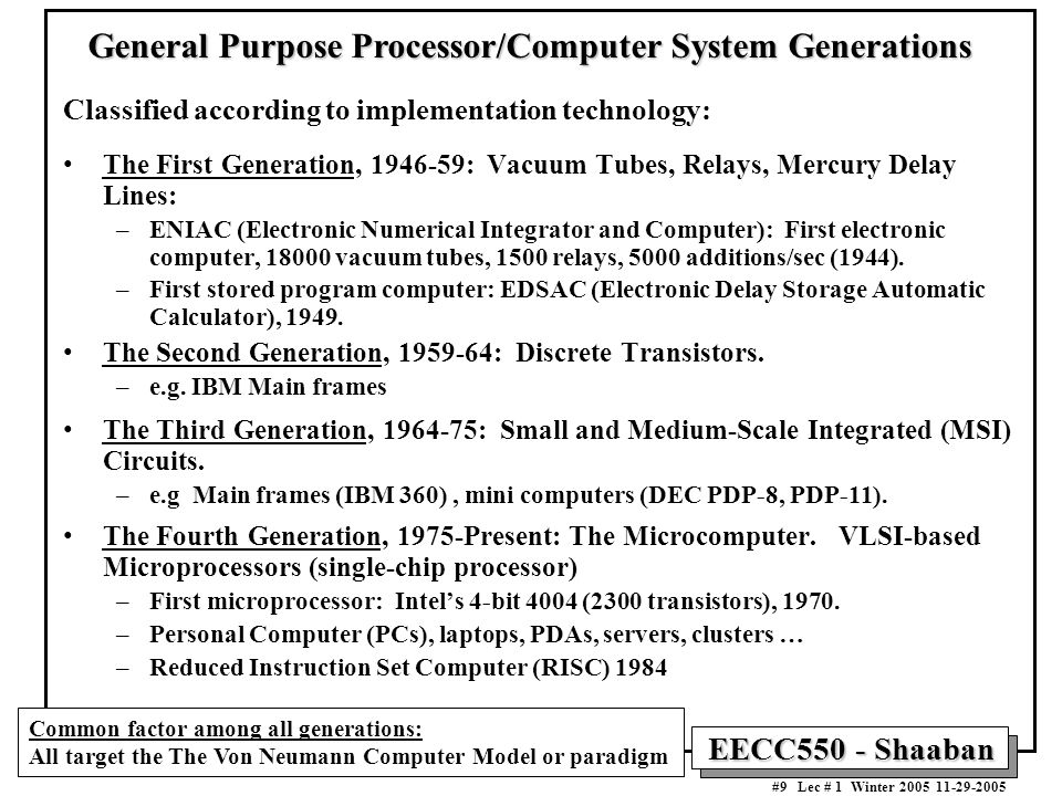 EECC550 - Shaaban #9 Lec # 1 Winter General Purpose Processor/Computer System Generations Classified according to implementation technology: The First Generation, : Vacuum Tubes, Relays, Mercury Delay Lines: –ENIAC (Electronic Numerical Integrator and Computer): First electronic computer, vacuum tubes, 1500 relays, 5000 additions/sec (1944).