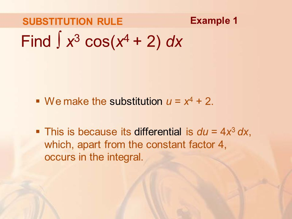 SUBSTITUTION RULE Find ∫ x 3 cos(x 4 + 2) dx  We make the substitution u = x
