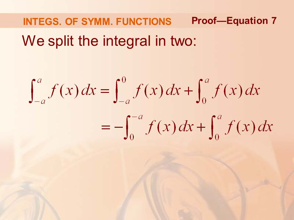 We split the integral in two: Proof—Equation 7 INTEGS. OF SYMM. FUNCTIONS