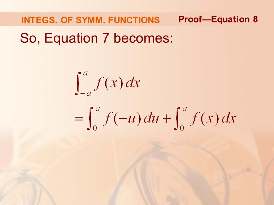 So, Equation 7 becomes: Proof—Equation 8 INTEGS. OF SYMM. FUNCTIONS