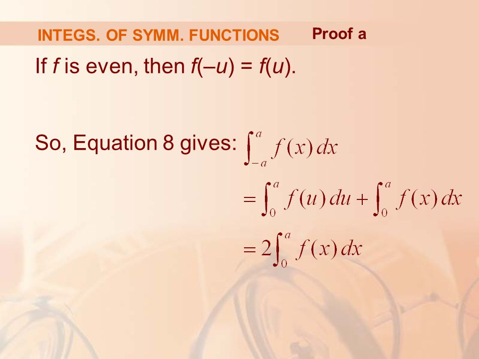 If f is even, then f(–u) = f(u). So, Equation 8 gives: INTEGS. OF SYMM. FUNCTIONS Proof a