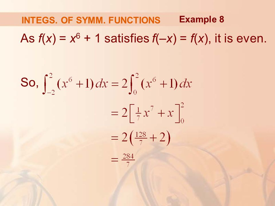 As f(x) = x satisfies f(–x) = f(x), it is even. So, Example 8 INTEGS. OF SYMM. FUNCTIONS