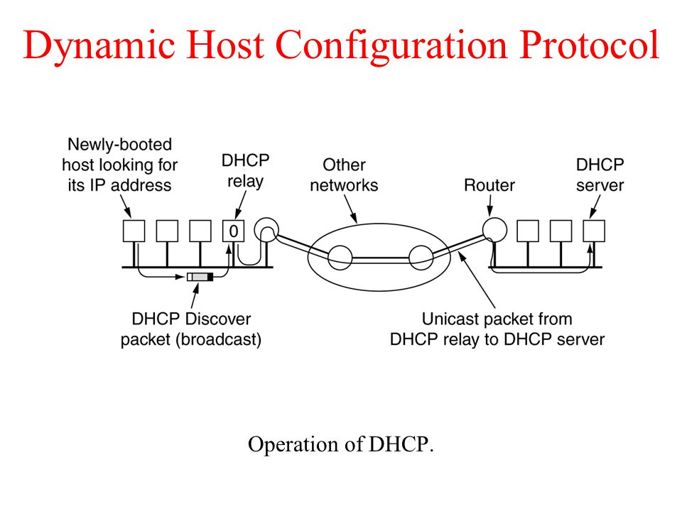 Dynamic Host Configuration Protocol Operation of DHCP.