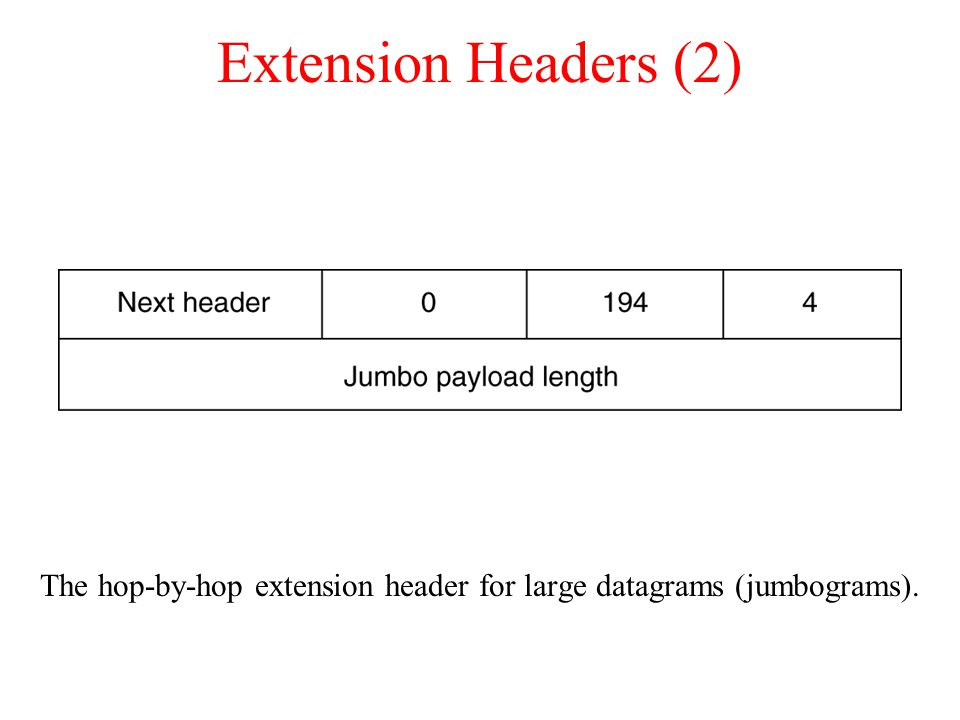 Extension Headers (2) The hop-by-hop extension header for large datagrams (jumbograms).