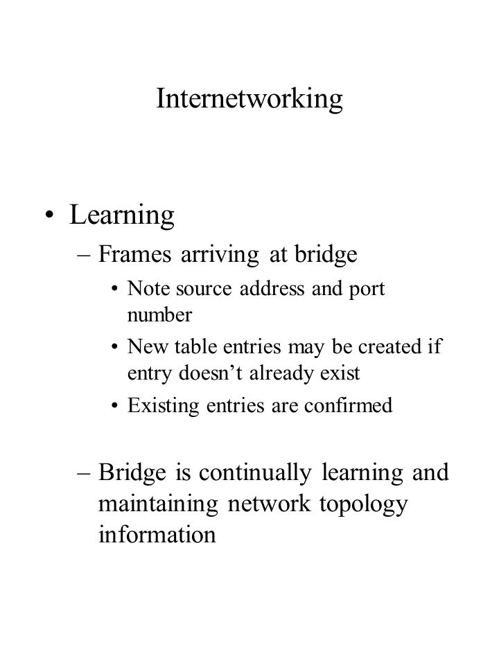 Internetworking Learning –Frames arriving at bridge Note source address and port number New table entries may be created if entry doesn't already exist Existing entries are confirmed –Bridge is continually learning and maintaining network topology information