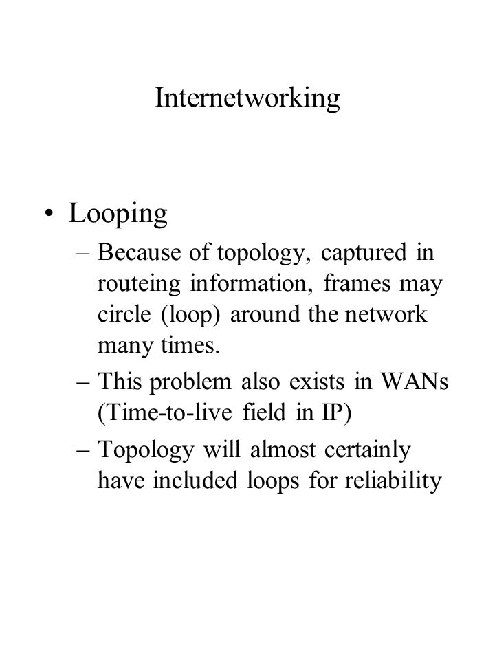 Internetworking Looping –Because of topology, captured in routeing information, frames may circle (loop) around the network many times.