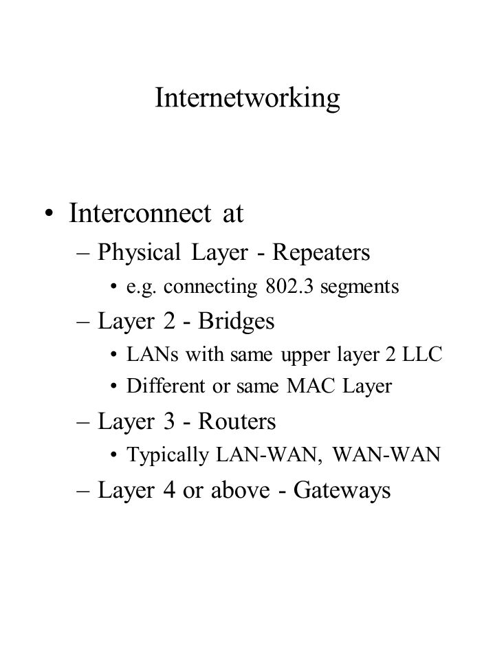 Internetworking Interconnect at –Physical Layer - Repeaters e.g.