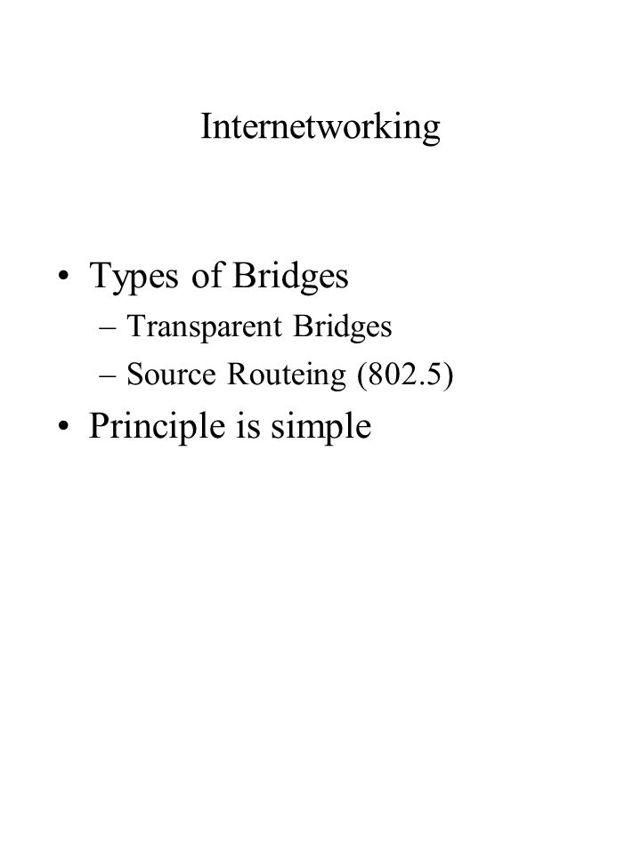 Internetworking Types of Bridges –Transparent Bridges –Source Routeing (802.5) Principle is simple