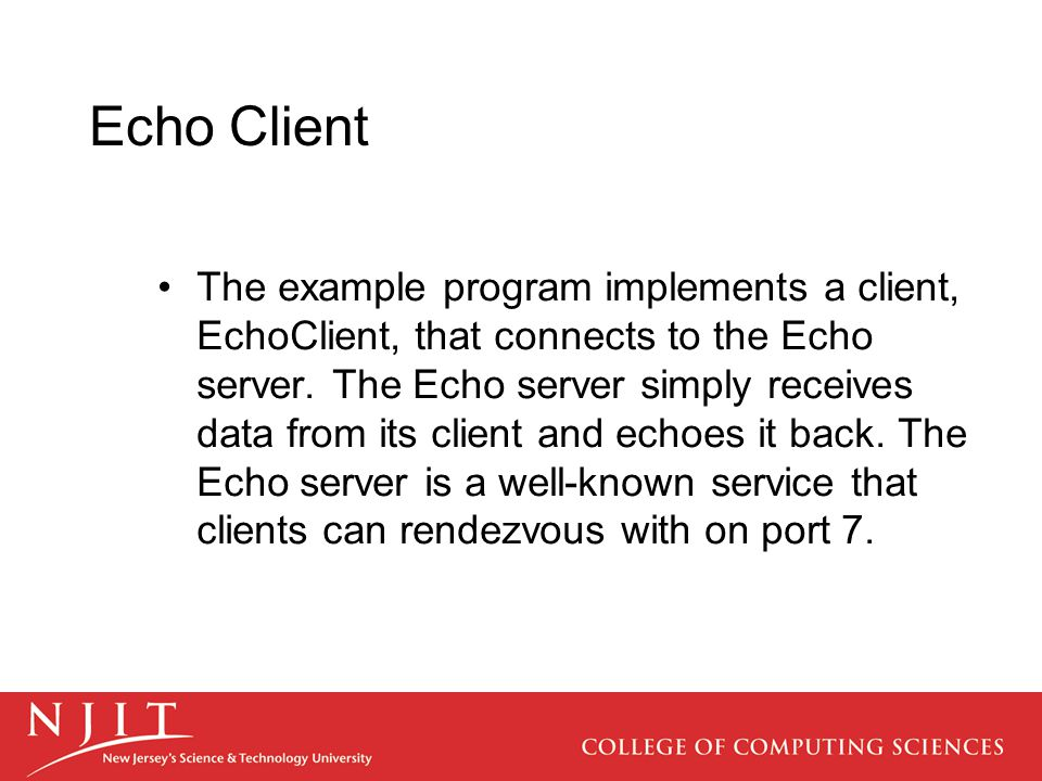 Echo Client The example program implements a client, EchoClient, that connects to the Echo server.