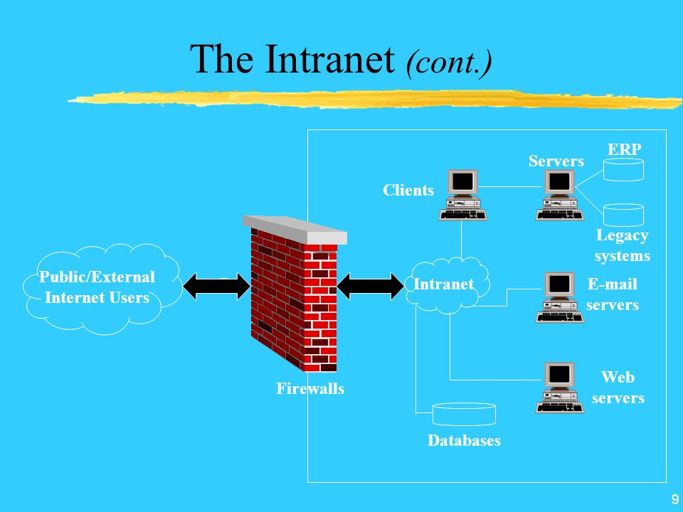 Public/External Internet Users Intranet Clients Servers ERP Legacy systems  servers Web servers Databases Firewalls 9 The Intranet (cont.)