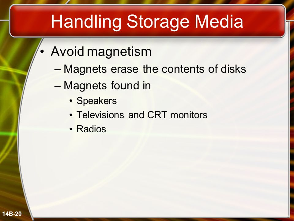 14B-20 Handling Storage Media Avoid magnetism –Magnets erase the contents of disks –Magnets found in Speakers Televisions and CRT monitors Radios