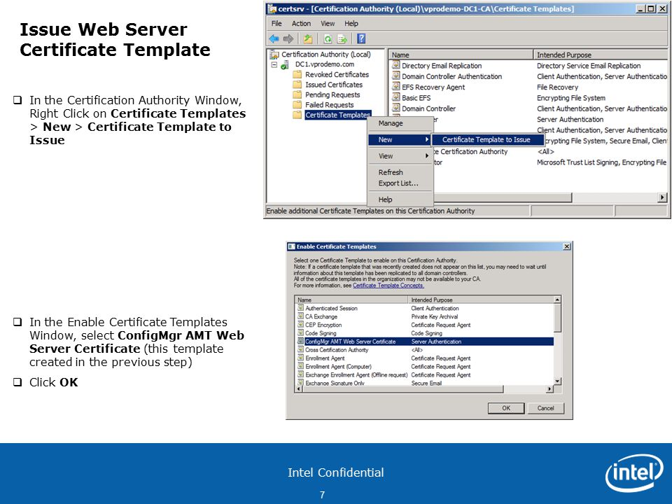 Intel Confidential 1 Configure Pki Web Server Certificates For Each
