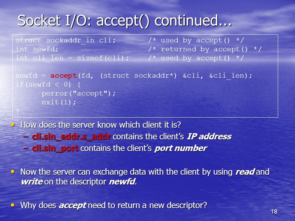 18 Socket I/O: accept() continued...