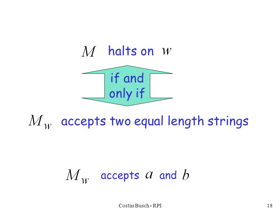 Costas Busch - RPI18 halts on if and only if accepts two equal length strings accepts and