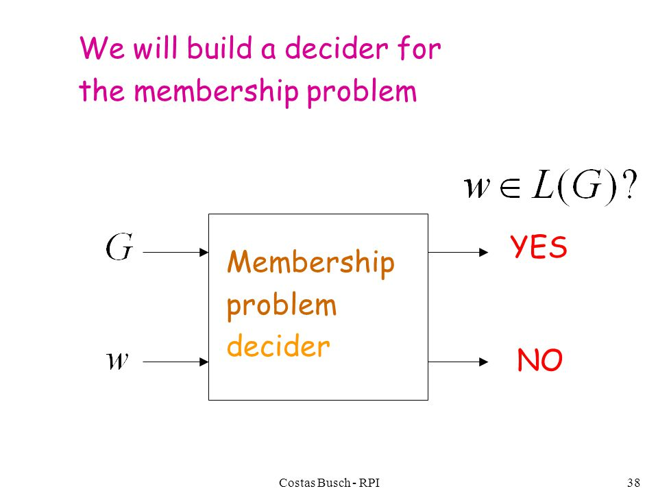 Costas Busch - RPI38 We will build a decider for the membership problem YES NO Membership problem decider