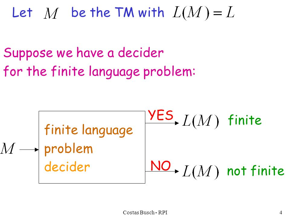Costas Busch - RPI4 finite language problem decider YES NO Suppose we have a decider for the finite language problem: Let be the TM with finite not finite