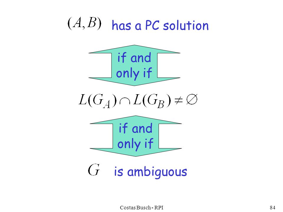 Costas Busch - RPI84 if and only if is ambiguous if and only if has a PC solution