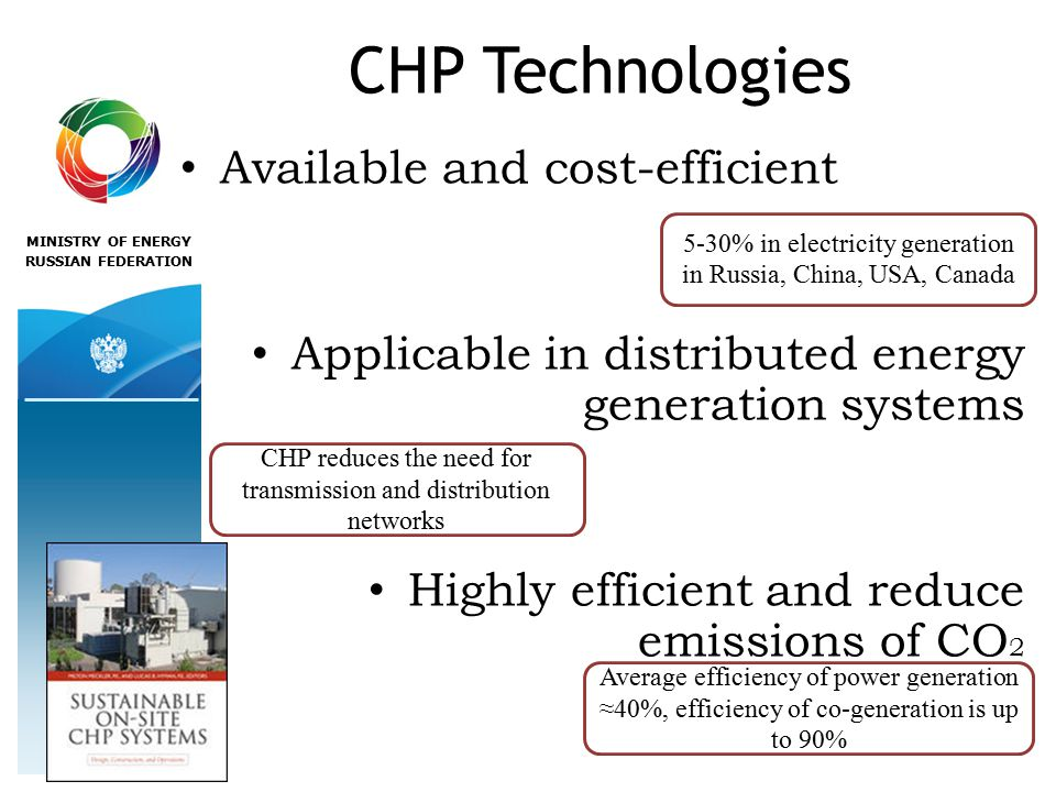 MINISTRY OF ENERGY RUSSIAN FEDERATION CHP Technologies Available and cost-efficient Applicable in distributed energy generation systems Highly efficient and reduce emissions of CO % in electricity generation in Russia, China, USA, Canada CHP reduces the need for transmission and distribution networks Average efficiency of power generation ≈40%, efficiency of co-generation is up to 90%