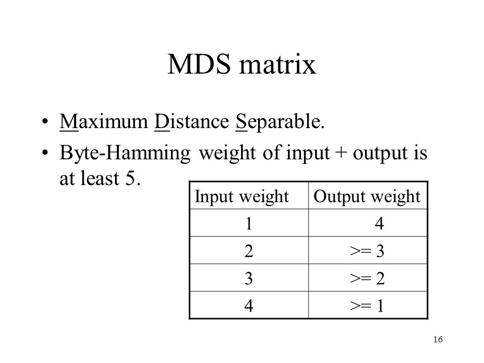 16 MDS matrix Maximum Distance Separable. Byte-Hamming weight of input + output is at least 5.