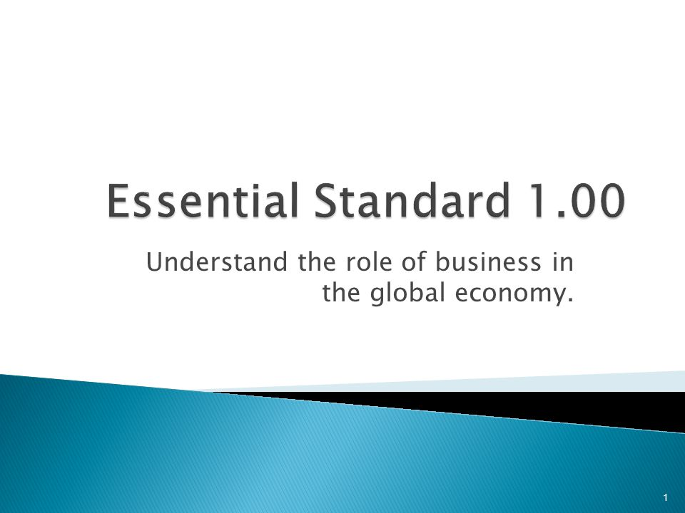 Understand the role of business in the global economy. 1