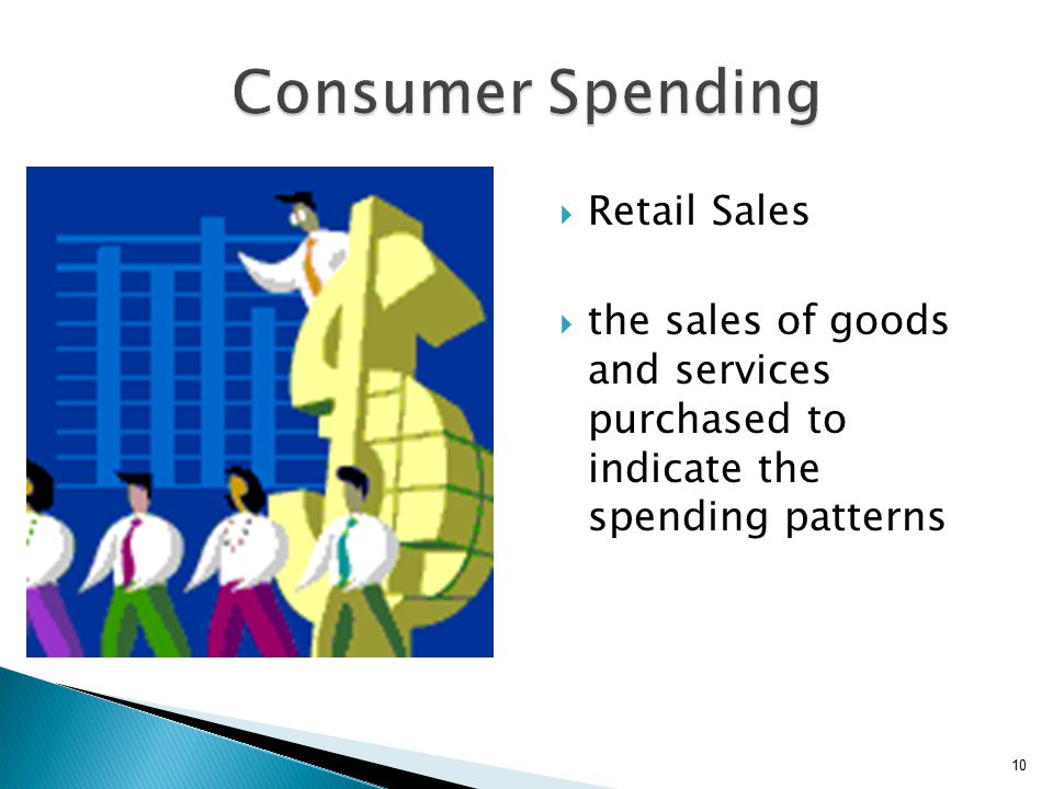  Retail Sales  the sales of goods and services purchased to indicate the spending patterns 10