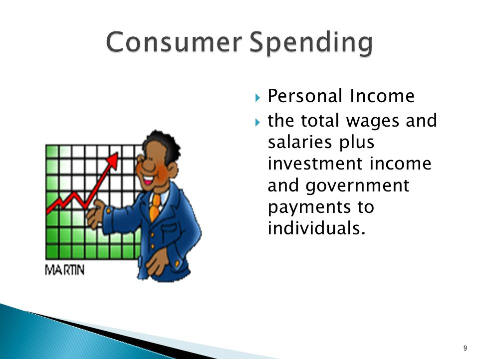  Personal Income  the total wages and salaries plus investment income and government payments to individuals.