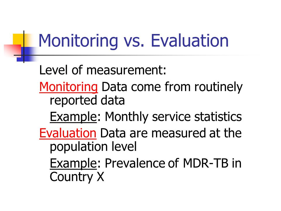 Monitoring vs.