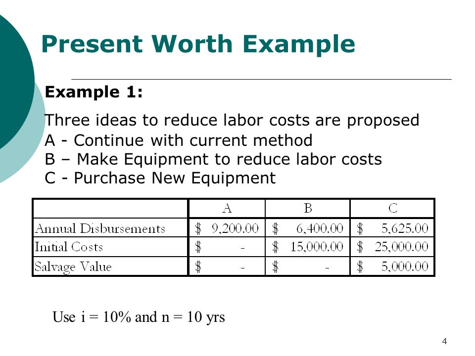 4 Present Worth Example Example 1: Three ideas to reduce labor costs are proposed A - Continue with current method B – Make Equipment to reduce labor costs C - Purchase New Equipment Use i = 10% and n = 10 yrs