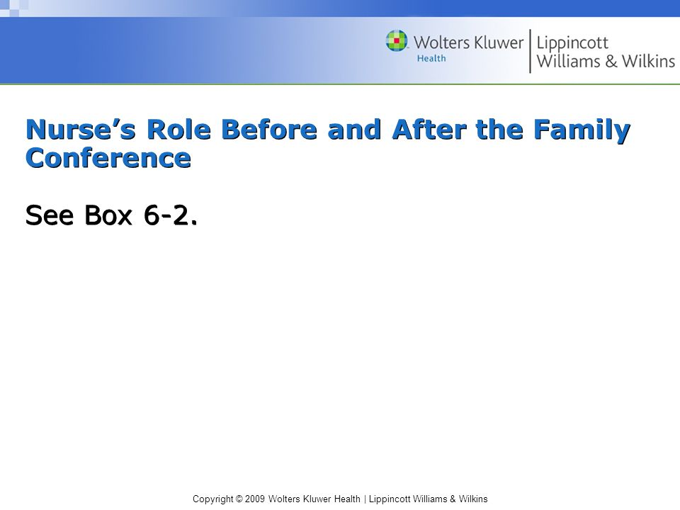 Copyright © 2009 Wolters Kluwer Health | Lippincott Williams & Wilkins Nurse's Role Before and After the Family Conference See Box 6-2.