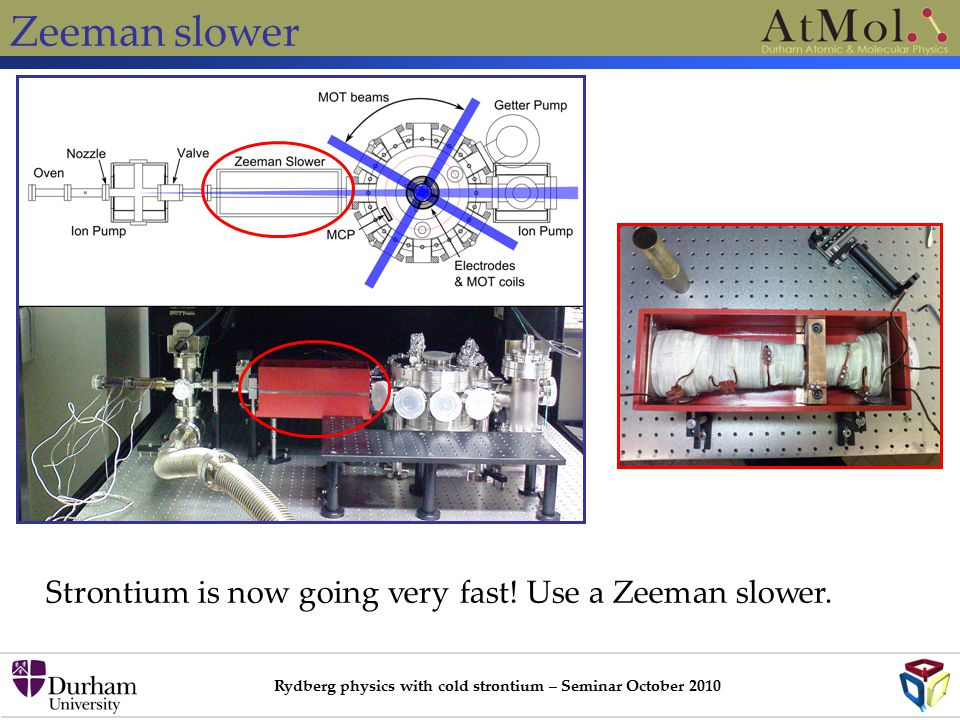 Rydberg physics with cold strontium – Seminar October 2010 Zeeman slower Strontium is now going very fast.