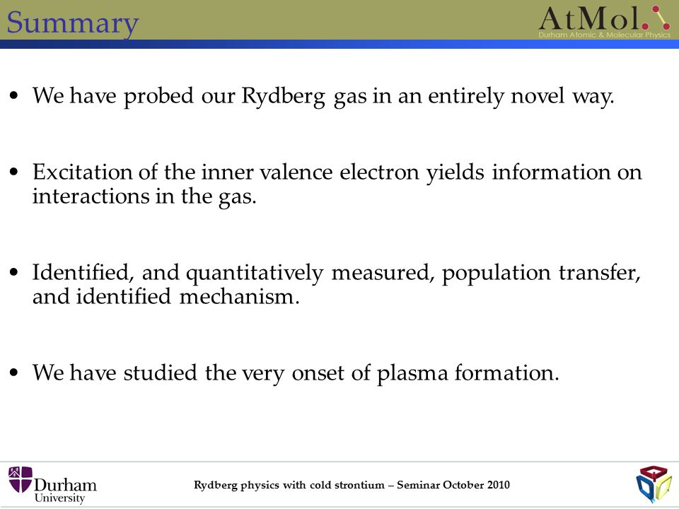 Rydberg physics with cold strontium – Seminar October 2010 Summary We have probed our Rydberg gas in an entirely novel way.