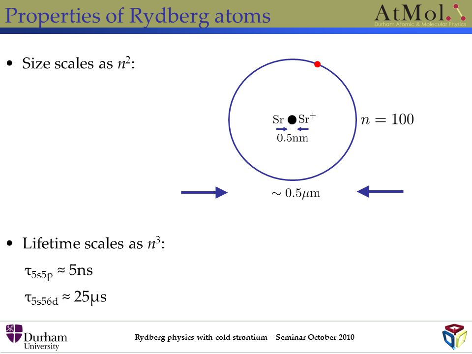 Rydberg physics with cold strontium – Seminar October 2010 Properties of Rydberg atoms Size scales as n 2 : Lifetime scales as n 3 : τ 5s5p ≈ 5ns τ 5s56d ≈ 25μs