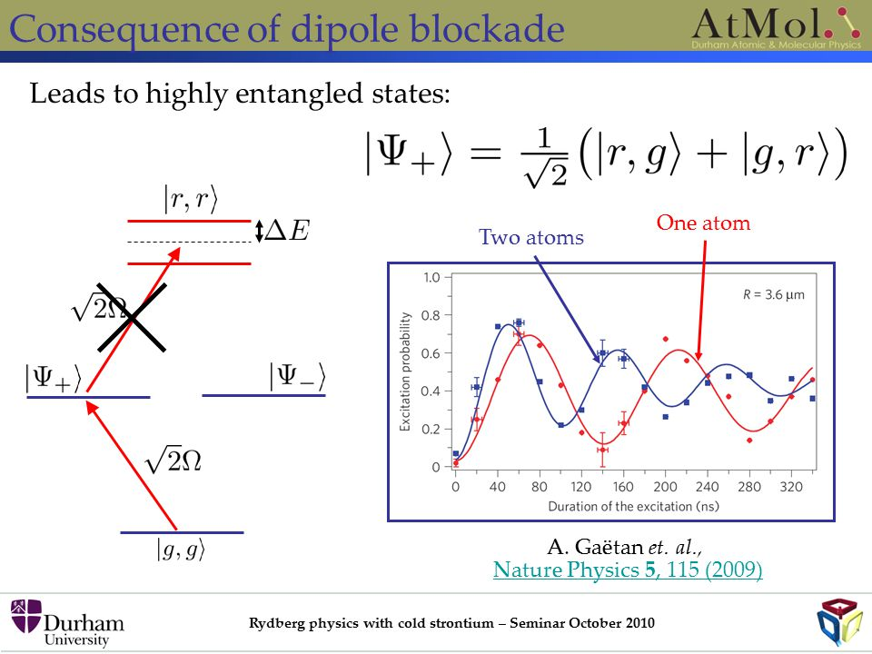 Rydberg physics with cold strontium – Seminar October 2010 Consequence of dipole blockade Leads to highly entangled states: A.