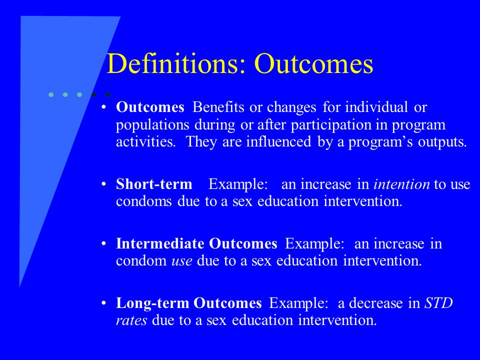 Definitions: Outcomes Outcomes Benefits or changes for individual or populations during or after participation in program activities.