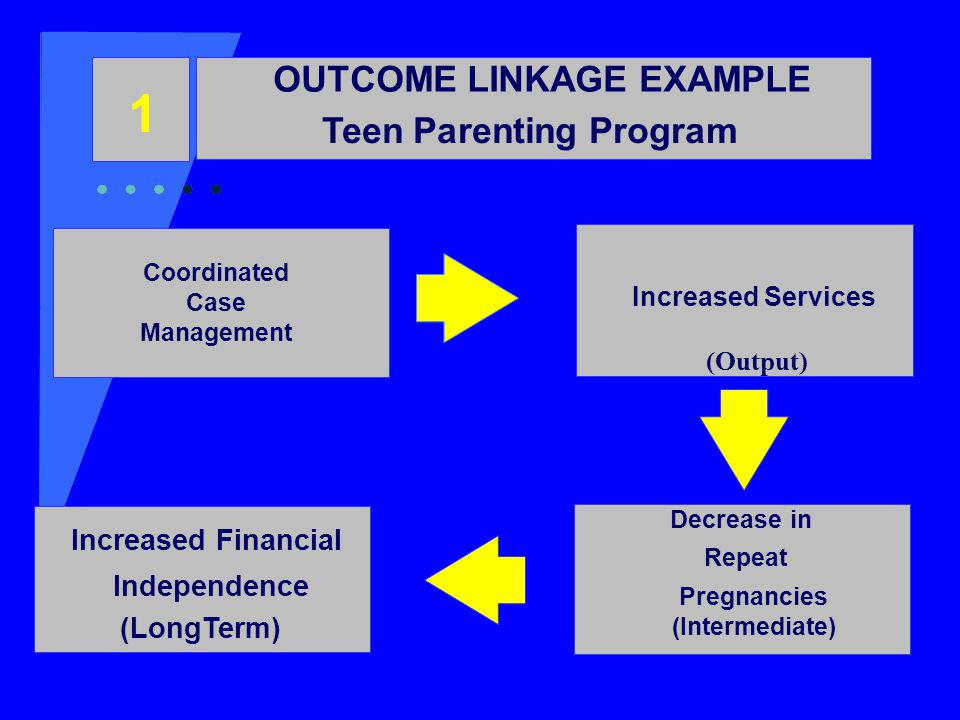 OUTCOME LINKAGE EXAMPLE Teen Parenting Program 1 Coordinated Case Management Increased Services (Output) Decrease in Repeat Pregnancies (Intermediate) Increased Financial Independence (LongTerm)