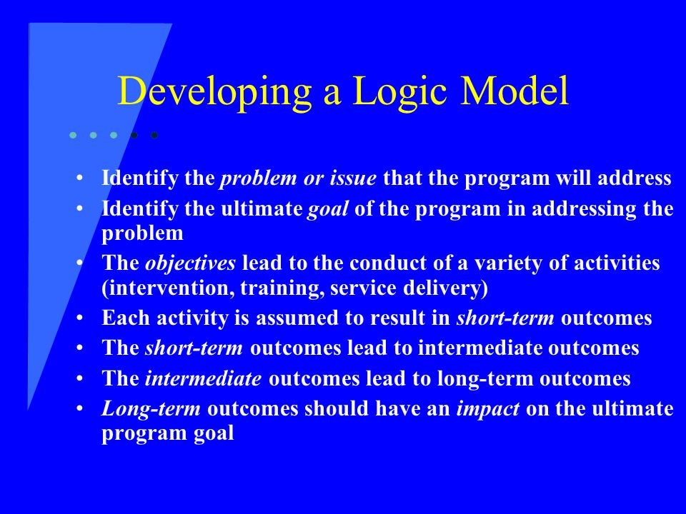 Developing a Logic Model Identify the problem or issue that the program will address Identify the ultimate goal of the program in addressing the problem The objectives lead to the conduct of a variety of activities (intervention, training, service delivery) Each activity is assumed to result in short-term outcomes The short-term outcomes lead to intermediate outcomes The intermediate outcomes lead to long-term outcomes Long-term outcomes should have an impact on the ultimate program goal