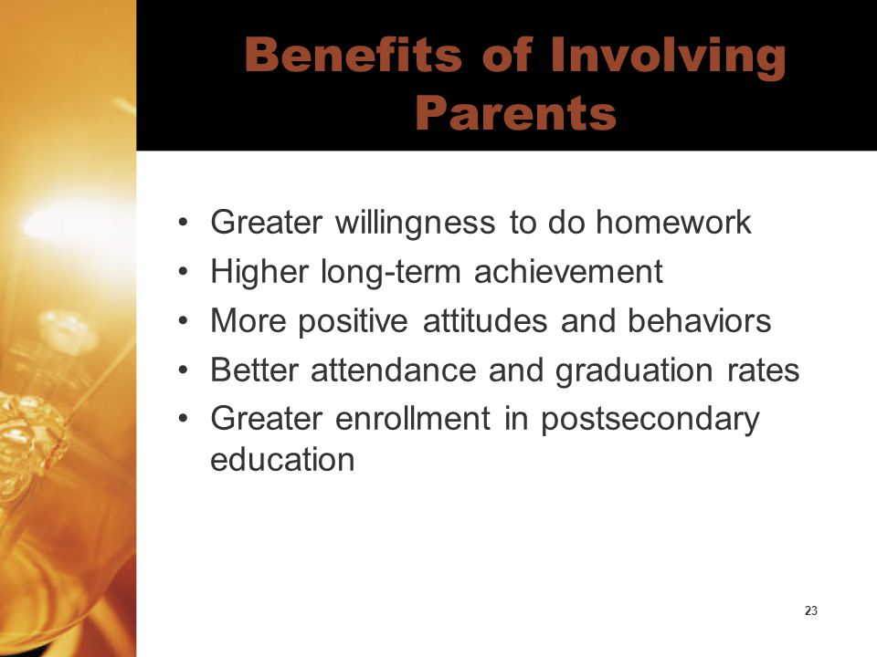 23 Benefits of Involving Parents Greater willingness to do homework Higher long-term achievement More positive attitudes and behaviors Better attendance and graduation rates Greater enrollment in postsecondary education