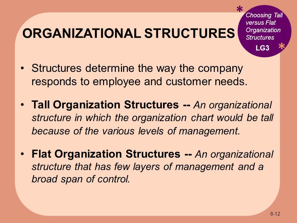 * * Choosing Tall versus Flat Organization Structures Structures determine the way the company responds to employee and customer needs.