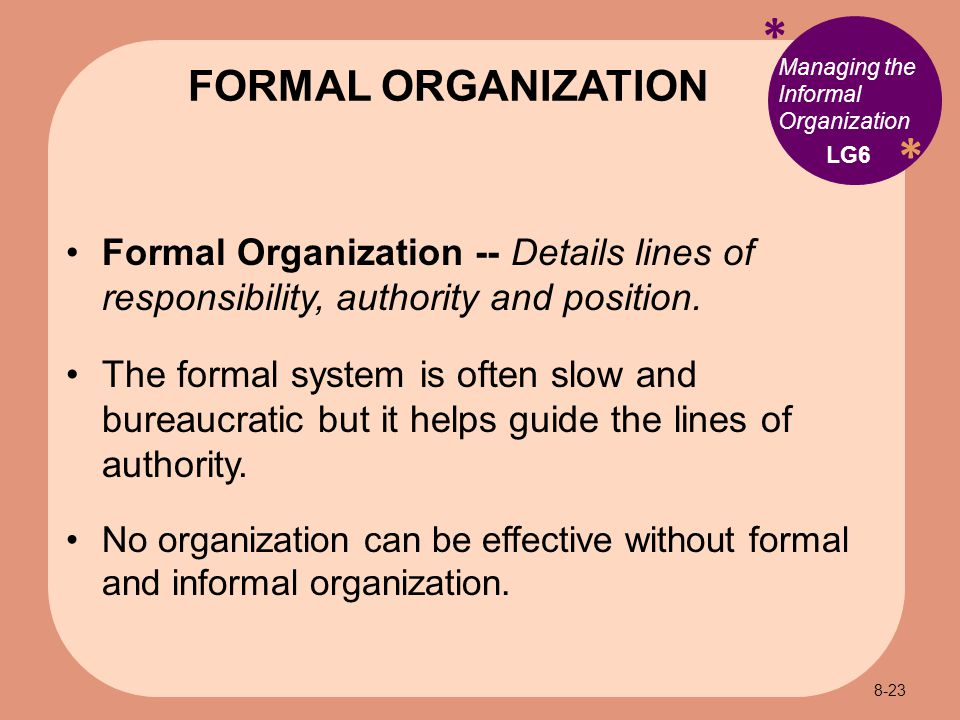 * * Managing the Informal Organization Formal Organization -- Details lines of responsibility, authority and position.