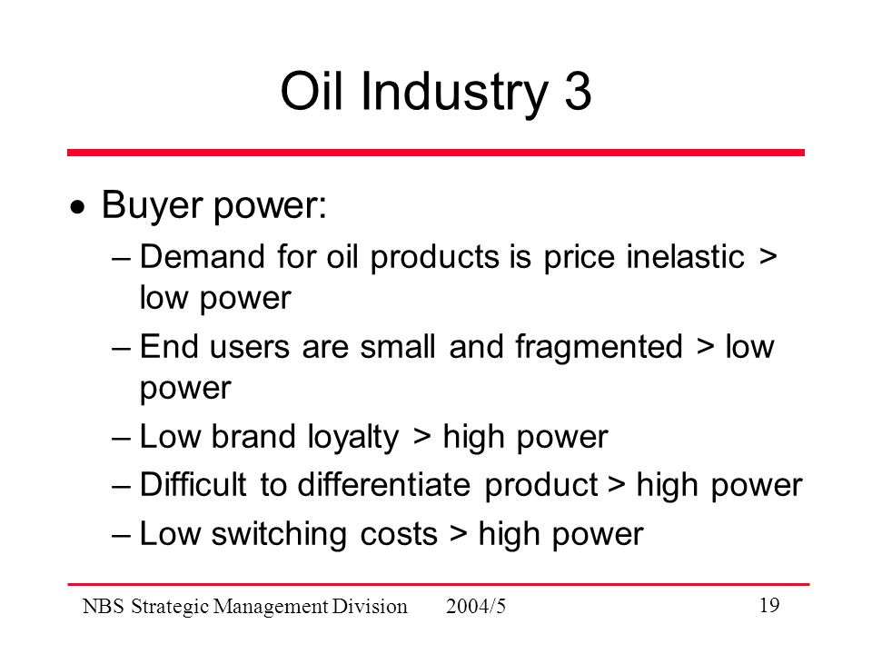 NBS Strategic Management Division 2004/5 19 Oil Industry 3  Buyer power: –Demand for oil products is price inelastic > low power –End users are small and fragmented > low power –Low brand loyalty > high power –Difficult to differentiate product > high power –Low switching costs > high power