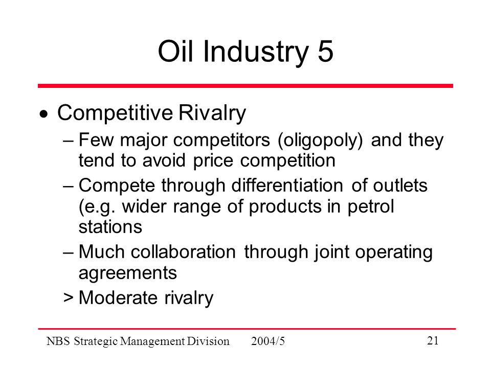 NBS Strategic Management Division 2004/5 21 Oil Industry 5  Competitive Rivalry –Few major competitors (oligopoly) and they tend to avoid price competition –Compete through differentiation of outlets (e.g.