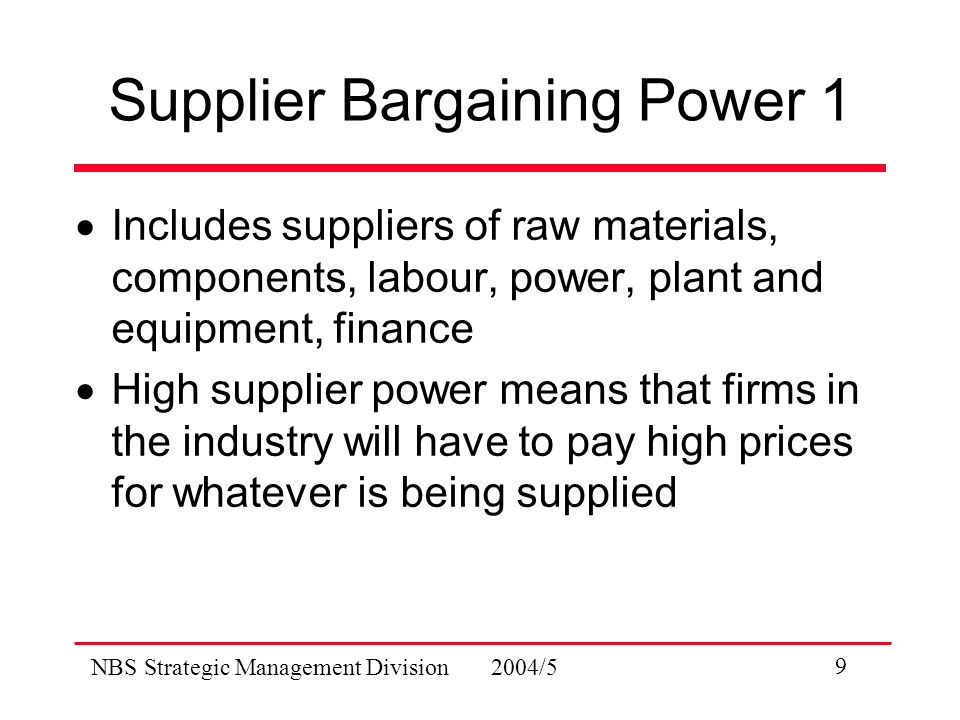 NBS Strategic Management Division 2004/5 9 Supplier Bargaining Power 1  Includes suppliers of raw materials, components, labour, power, plant and equipment, finance  High supplier power means that firms in the industry will have to pay high prices for whatever is being supplied