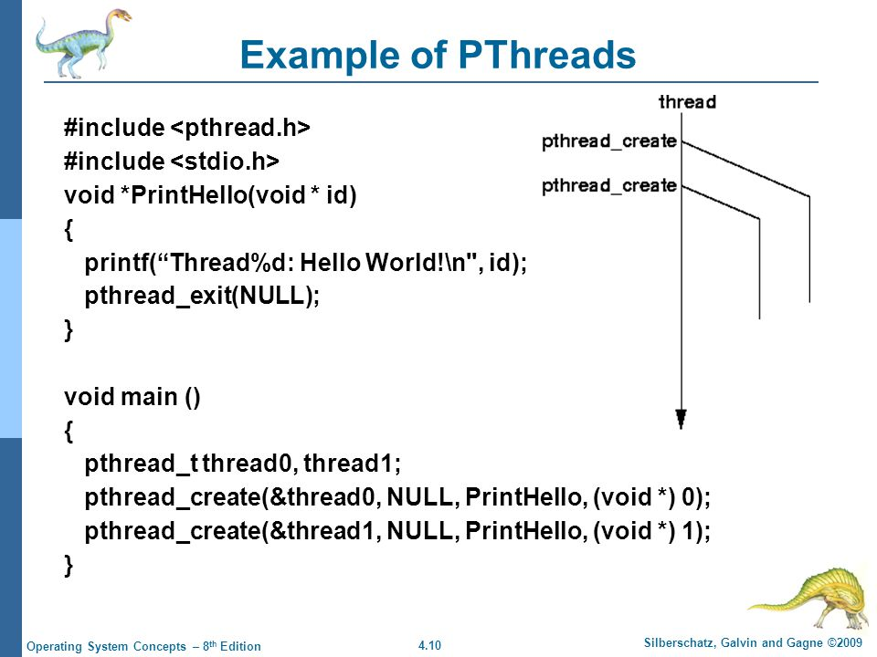4.10 Silberschatz, Galvin and Gagne ©2009 Operating System Concepts – 8 th Edition Example of PThreads #include void *PrintHello(void * id) { printf( Thread%d: Hello World!\n , id); pthread_exit(NULL); } void main () { pthread_t thread0, thread1; pthread_create(&thread0, NULL, PrintHello, (void *) 0); pthread_create(&thread1, NULL, PrintHello, (void *) 1); }