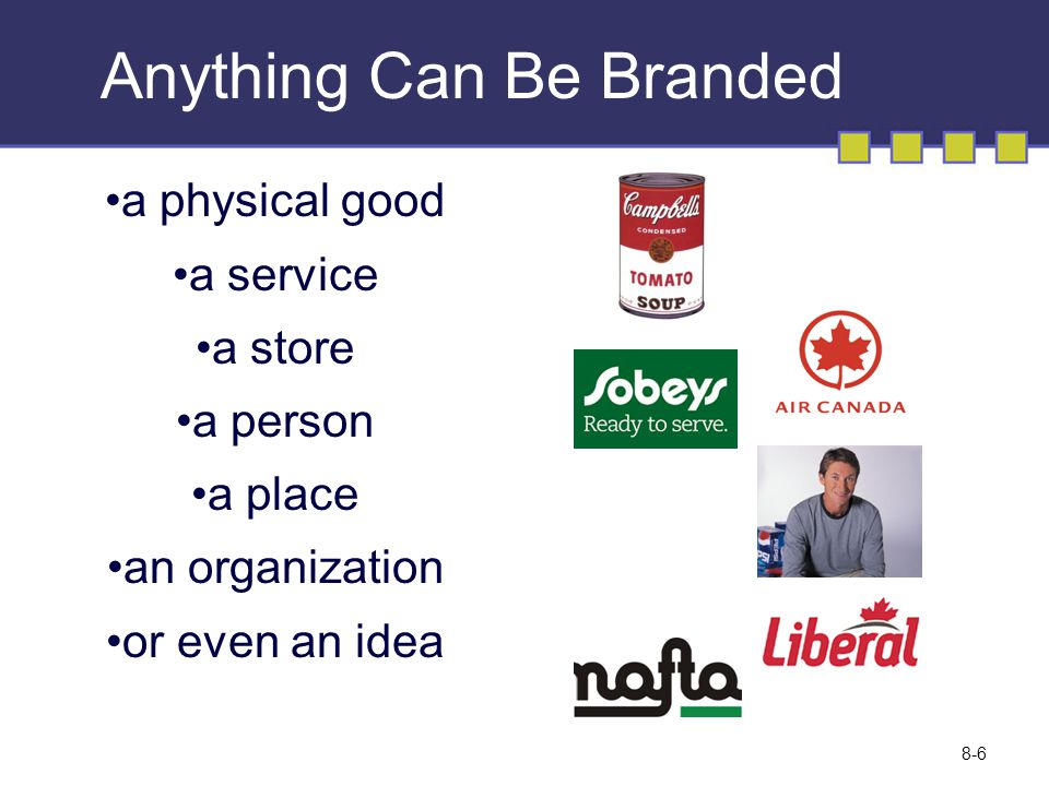 Anything Can Be Branded a physical good a service a store a person a place an organization or even an idea 8-6