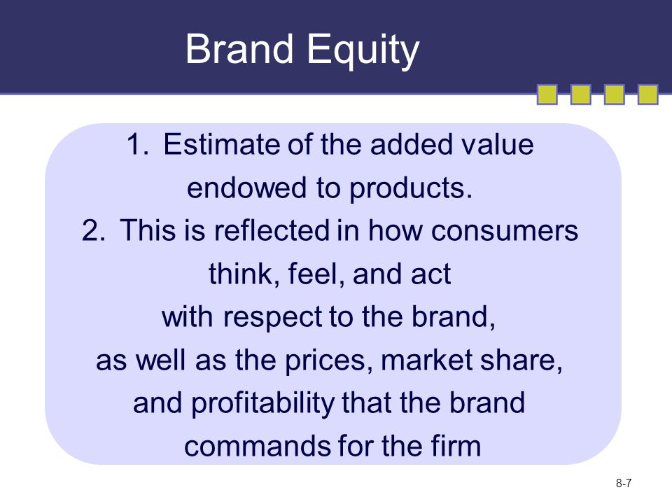 Brand Equity 1.Estimate of the added value endowed to products.